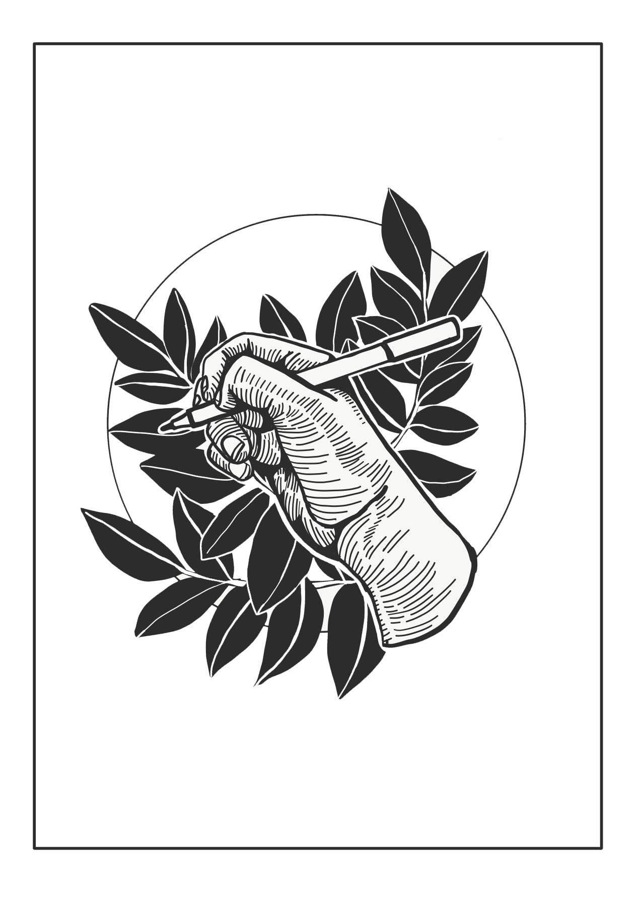Illustration of a hand holding a pen with leaves in the background