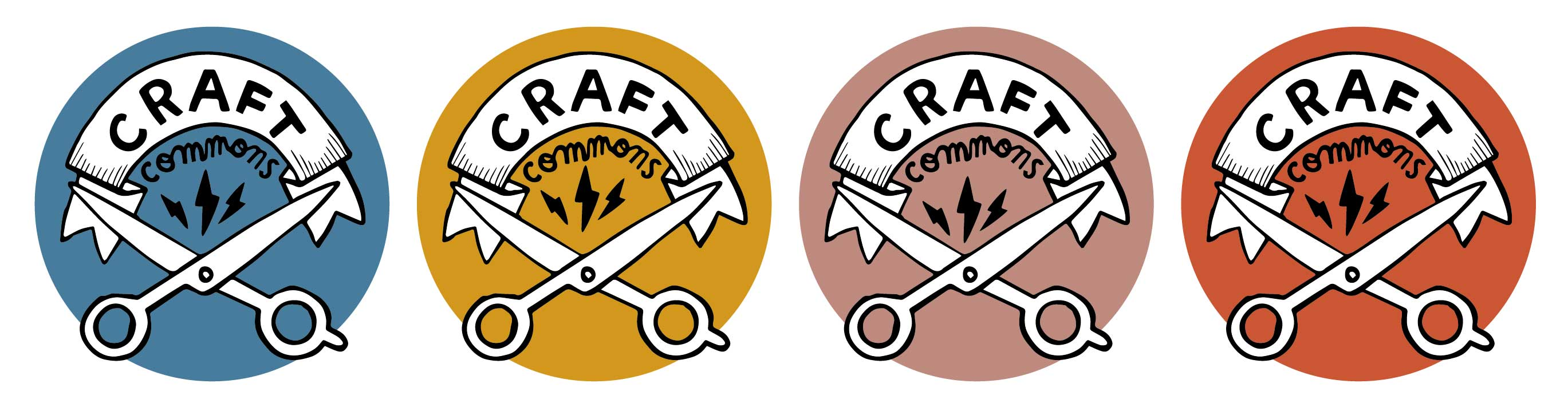 Logo for the Craft Commons project in the various brand colours