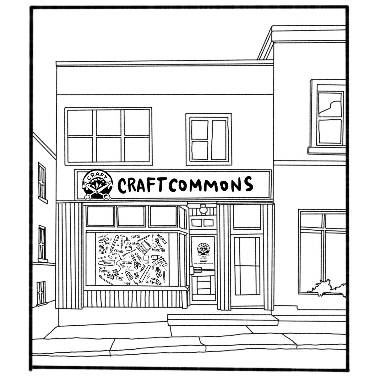 Illustrated mockup of the Craft Commons storefront
