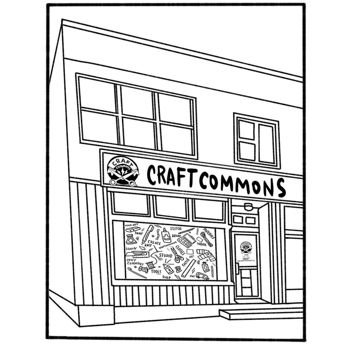 Illustrated mockup of the Craft Commons storefront front side angle