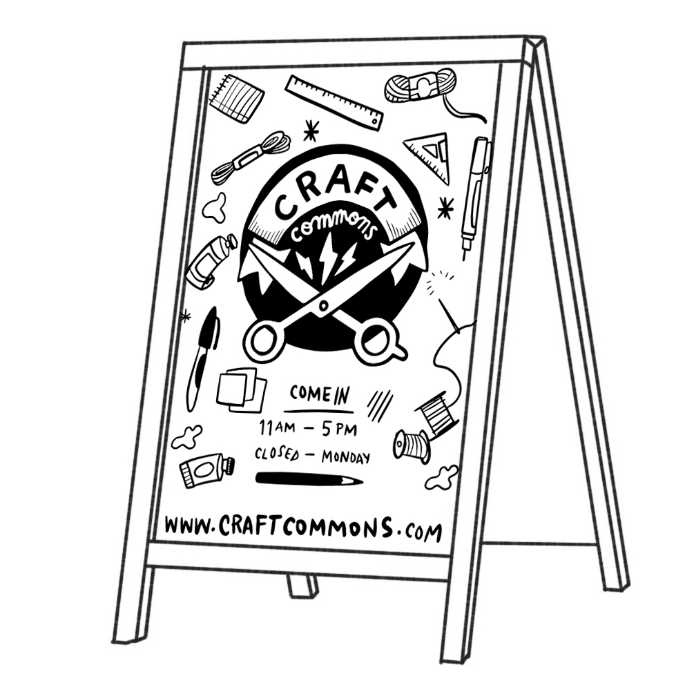 Illustrated mockup of signage for Craft Commons