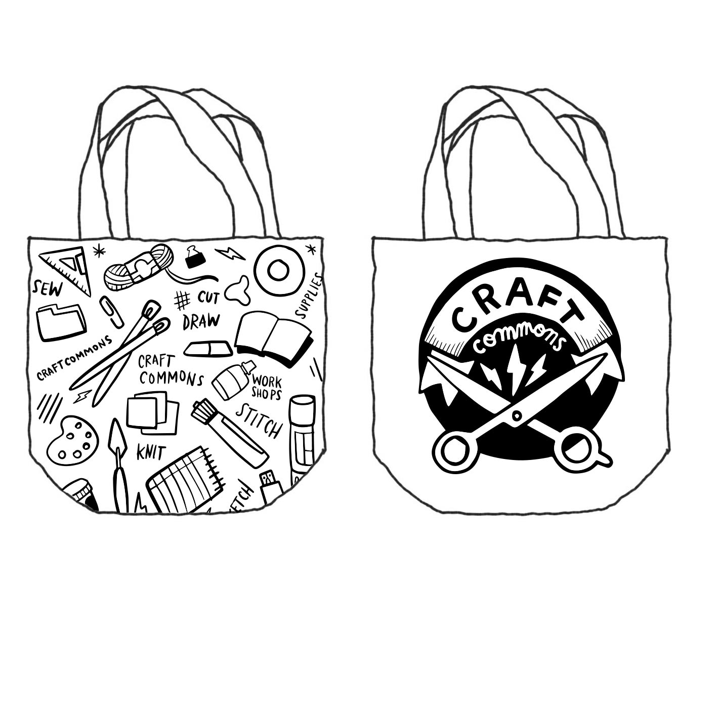 Illustrated mockup a tote bag for Craft Commons