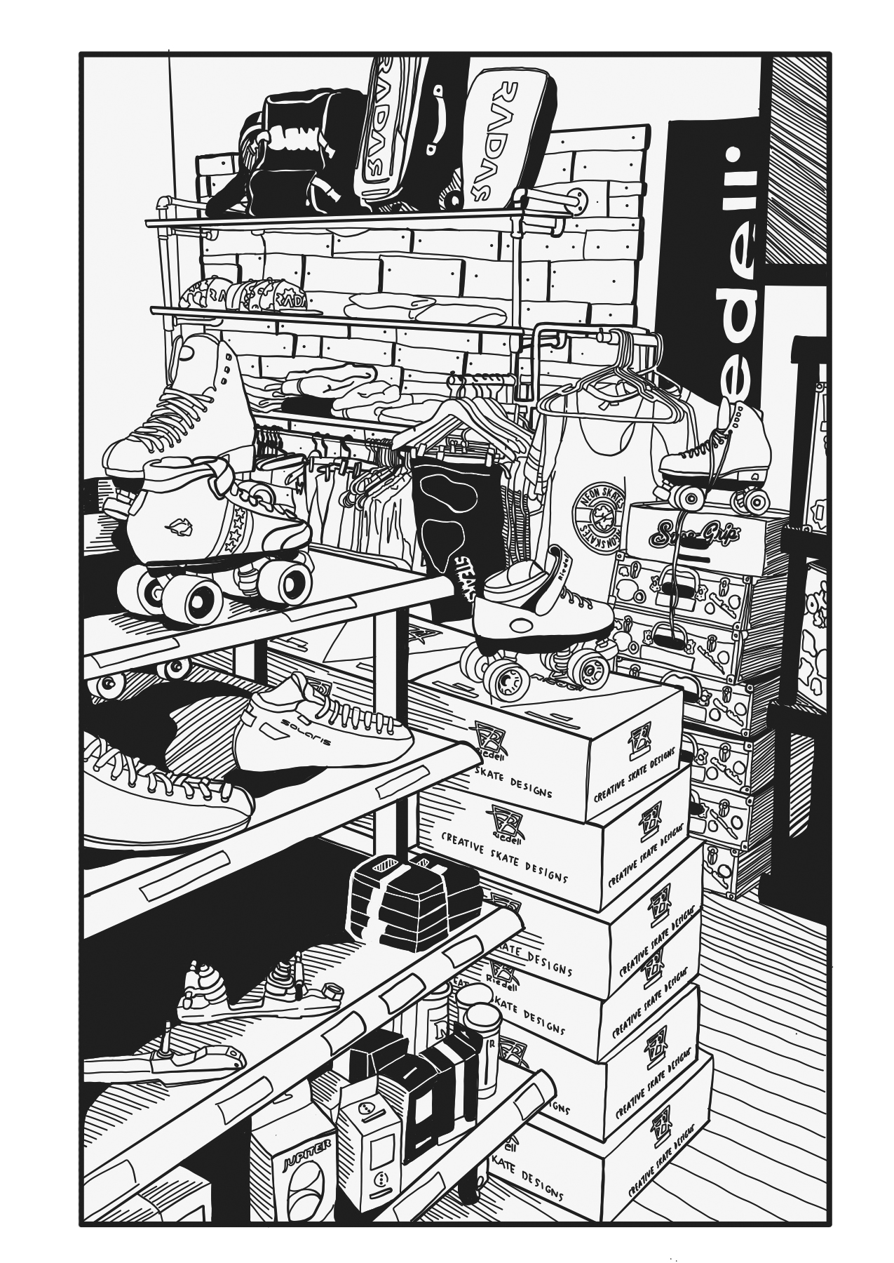 Illustration of the interior of a roller skate shop