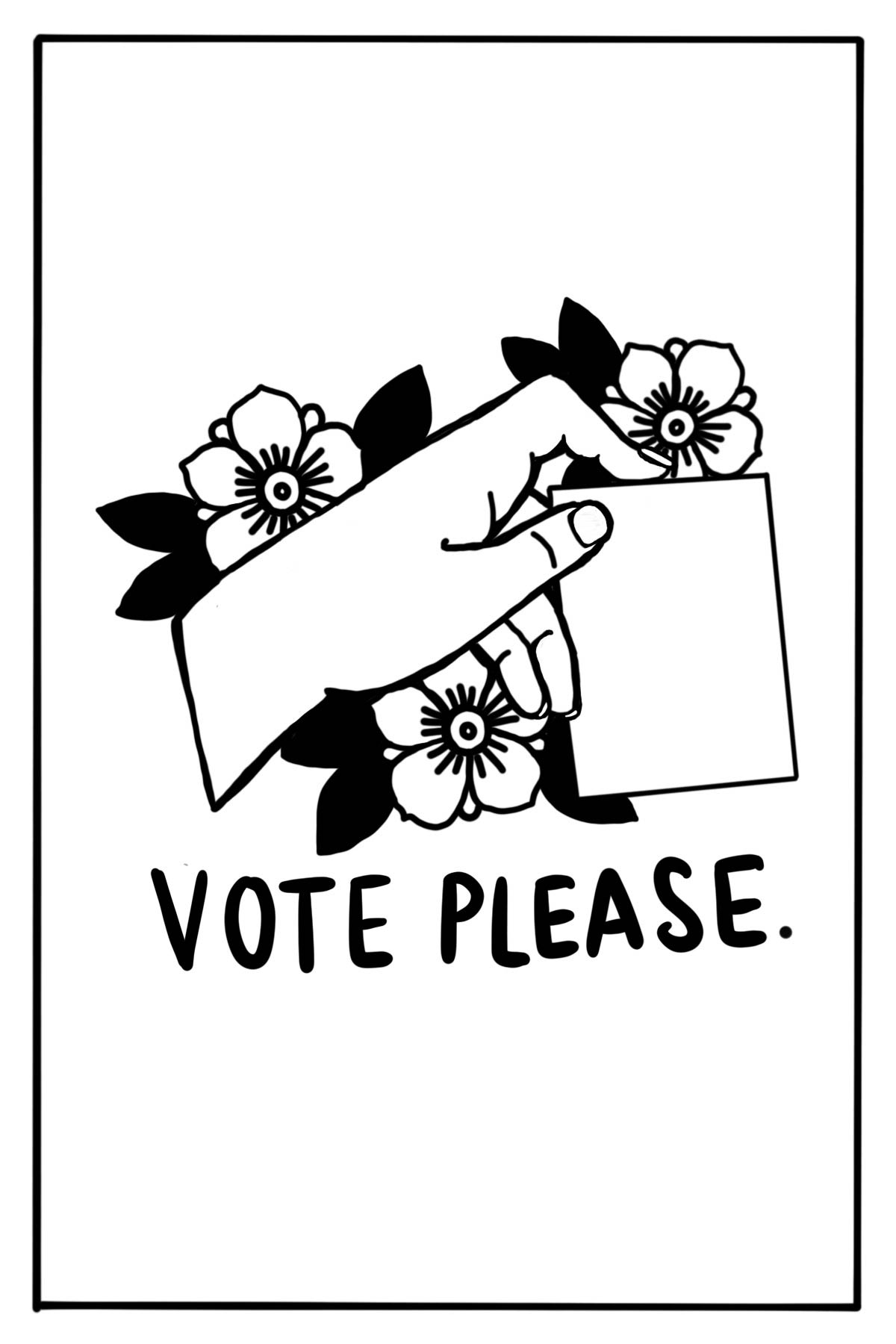 Illustration of a hand holding a card that says vote please