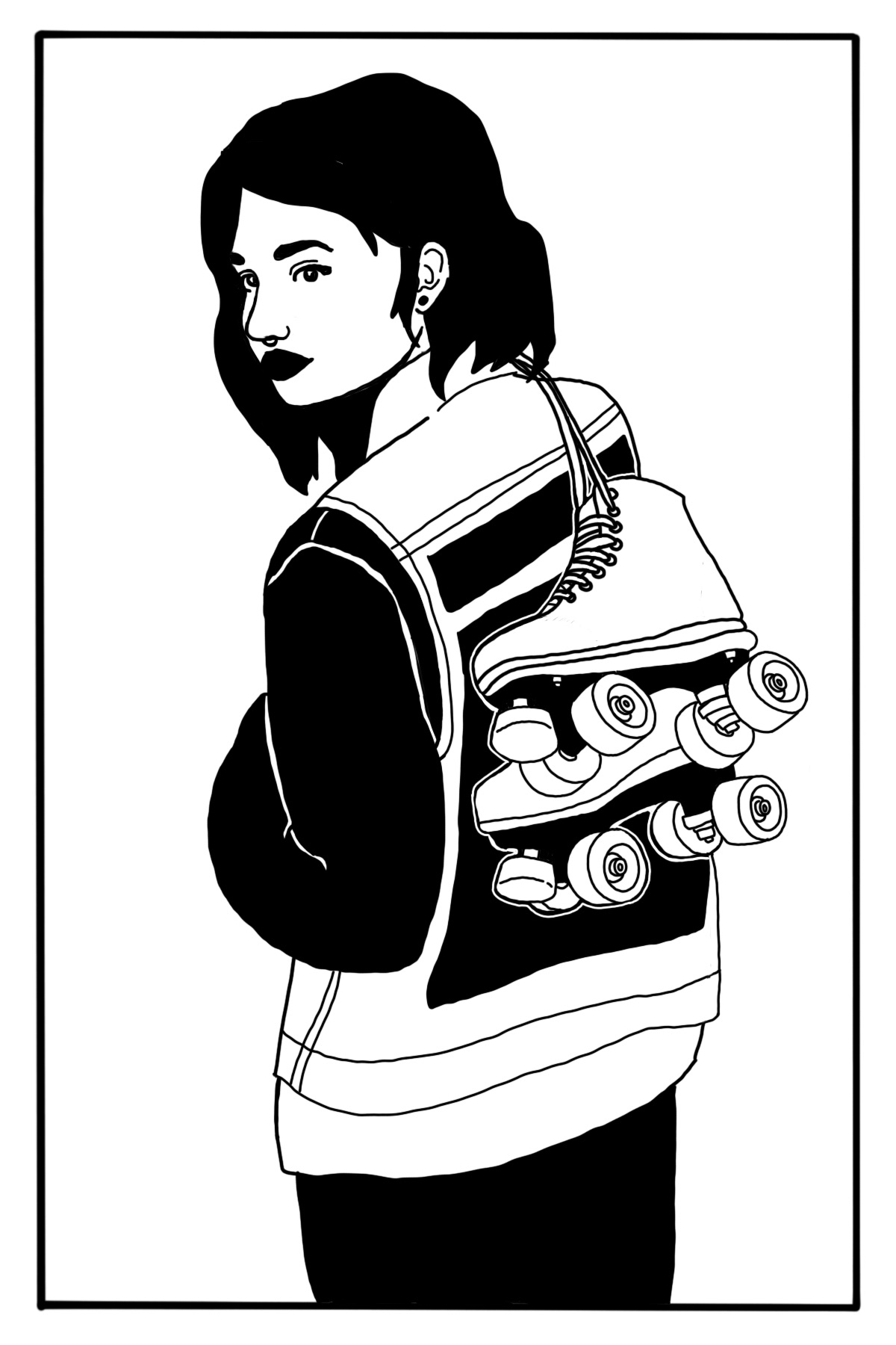 Illustration of a woman carrying a set of roller skates