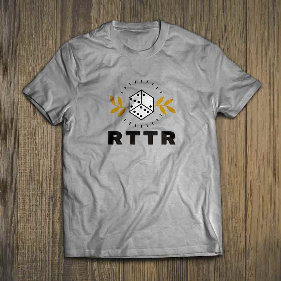 Image of the new RTTR logo applied to a t-shirt
