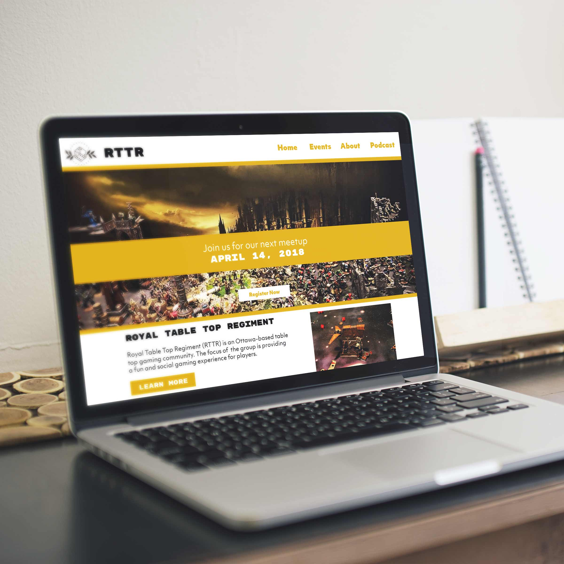 Image of the new RTTR logo applied a website mockup